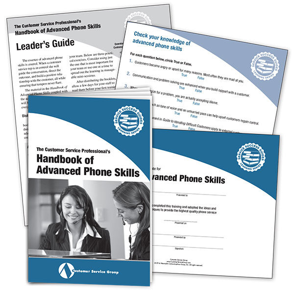 Handbook of Advanced Phone Skills. Includes booklets, leader's guide, quiz, certificate of participation.