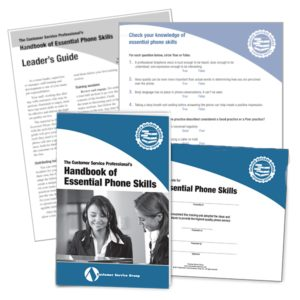 Handbook of Essential Phone Skills. Includes booklets, leader's guide, quiz, glancer, certificate of participation.