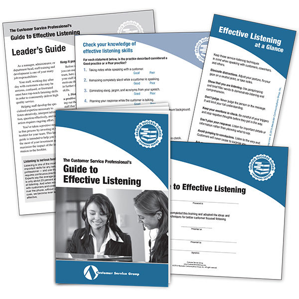 Guide to Effective Listening. Includes booklets, leader's guide, quiz, glancer, certificate of participation.