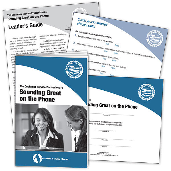Sounding Great on the Phone. Includes booklets, leader's guide, quiz, certificate of participation.