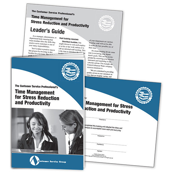 Time Management for Stress Reduction and Productivity. Includes booklets, leader's guide, certificate of participation.